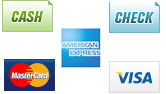 We accept Cash, Checks, MasterCard and Visa.||||